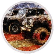 American Jeeps Round Beach Towel