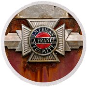 American Lafrance Foamite Badge Round Beach Towel