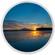 American Lake Sunrise Round Beach Towel by Tikvah's Hope