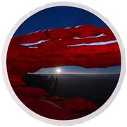 American Moonrise Round Beach Towel by Dustin  LeFevre