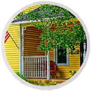 American Porch In Yellow Round Beach Towel by Desiree Paquette