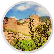 American Southwest Round Beach Towel by Desiree Paquette