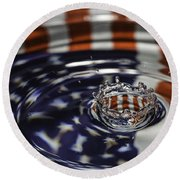 Round Beach Towel featuring the photograph American Water Crown by Betty Denise