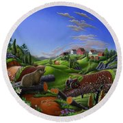 Americana Decor - Springtime On The Farm Country Life Landscape - Square Format Round Beach Towel