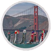 Americas Cup Catamarans At The Golden Gate Round Beach Towel