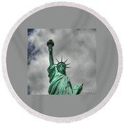 America's Lady Liberty Round Beach Towel