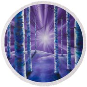 Amethyst Winter Round Beach Towel