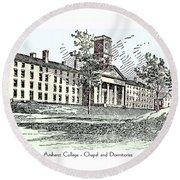 Amherst College - Chapel And Dormitories Round Beach Towel