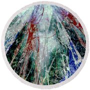 Round Beach Towel featuring the digital art Amid The Falling Snow by Seth Weaver
