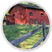 Amish Barn Along A Fenceline Round Beach Towel