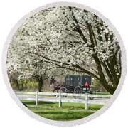 Amish Buggy Fowering Tree Round Beach Towel