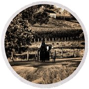 Amish Buggy On A Country Road Round Beach Towel