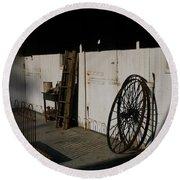 Amish Buggy Wheel Round Beach Towel