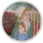 Amish Girls Round Beach Towel by Kathy Marrs Chandler
