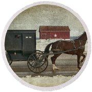 Amish Horse And Buggy And The Star Barn Round Beach Towel