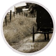 Amish Horse And Buggy Round Beach Towel