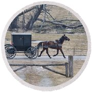 Amish Horse And Buggy March 2013 Round Beach Towel