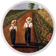 Amish Road Round Beach Towel by Linda Simon