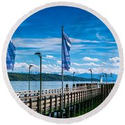 Ammersee - Lake In Bavaria Round Beach Towel