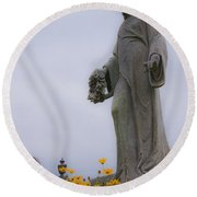 Among The Flowers Round Beach Towel