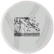 Amongst The Cherry Blossoms Round Beach Towel