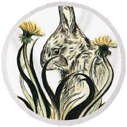 Rabbit- Amongst The Dandelions Round Beach Towel by Teresa White