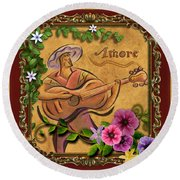 Amore - Musician Version Round Beach Towel