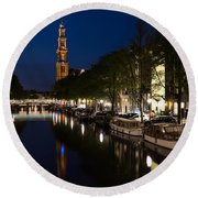 Amsterdam Blue Hour Round Beach Towel