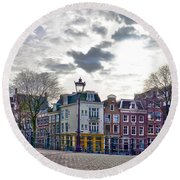 Round Beach Towel featuring the photograph Amsterdam Bridges by Frans Blok
