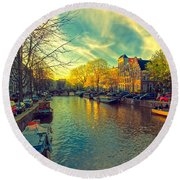 Amsterdam Bright Round Beach Towel