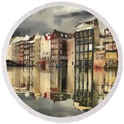 Round Beach Towel featuring the painting Amsterdam Cloudy Grey Day by Georgi Dimitrov