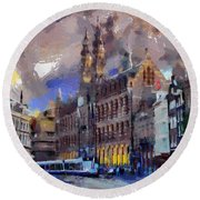 Round Beach Towel featuring the painting Amsterdam Daily Life by Georgi Dimitrov