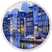 Amsterdam With Blue Colors Round Beach Towel by Georgi Dimitrov