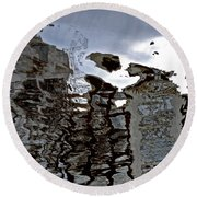 Round Beach Towel featuring the photograph Amsterdam Reflections 2 by Andy Prendy