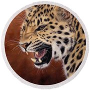 Amur Leopard Painting Round Beach Towel by Rachel Stribbling