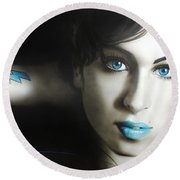 Amy Winehouse - ' Amy 'n' Blues ' Round Beach Towel by Christian Chapman Art