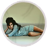 Amy Winehouse 2 Round Beach Towel by Paul Meijering