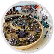 An Aerial View Of The Marina Bay Sands Hotel Lobby Singapore Round Beach Towel