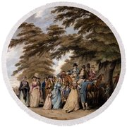 An Airing In Hyde Park, 1796 Round Beach Towel by Edward Days
