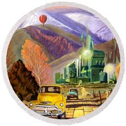 Trucks In Oz Round Beach Towel by Art James West