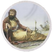 An Arab Resting In The Desert, Title Round Beach Towel