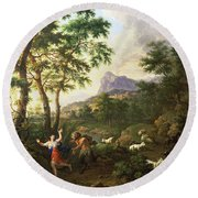 An Arcadian Landscape With Pan And Syrinx Round Beach Towel