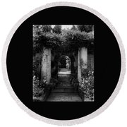 An Archway In The Garden Of Mrs. Carl Tucker Round Beach Towel