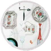 An Assortment Of Crockery Round Beach Towel