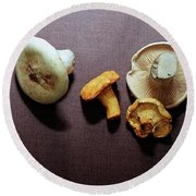 An Assortment Of Mushrooms Round Beach Towel