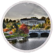 An Autumn Day At Hoyt Lake...dusk Oct2014 Round Beach Towel