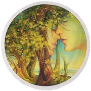 An Encounter At The Edge Of The Forest Round Beach Towel