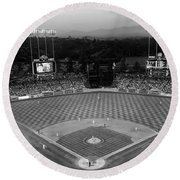 An Evening Game At Dodger Stadium Round Beach Towel