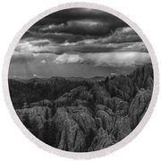 An Incoming Storm Over The Black Hills Of South Dakota Round Beach Towel