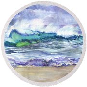 An Ode To The Sea Round Beach Towel by Carol Wisniewski